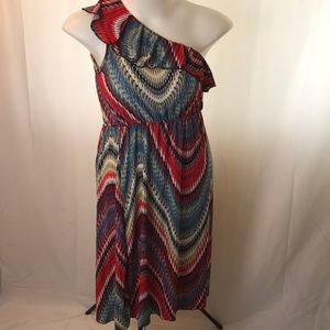 Dresses & Skirts - Wavy Red Dress / Blue Ruffle one shoulder Dress